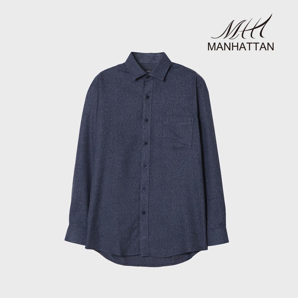 맨하탄 TR무지기모 캐주얼셔츠(네이비)