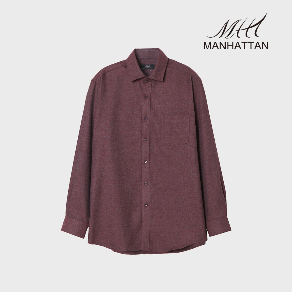 맨하탄 TR무지기모 캐주얼셔츠(버건디)
