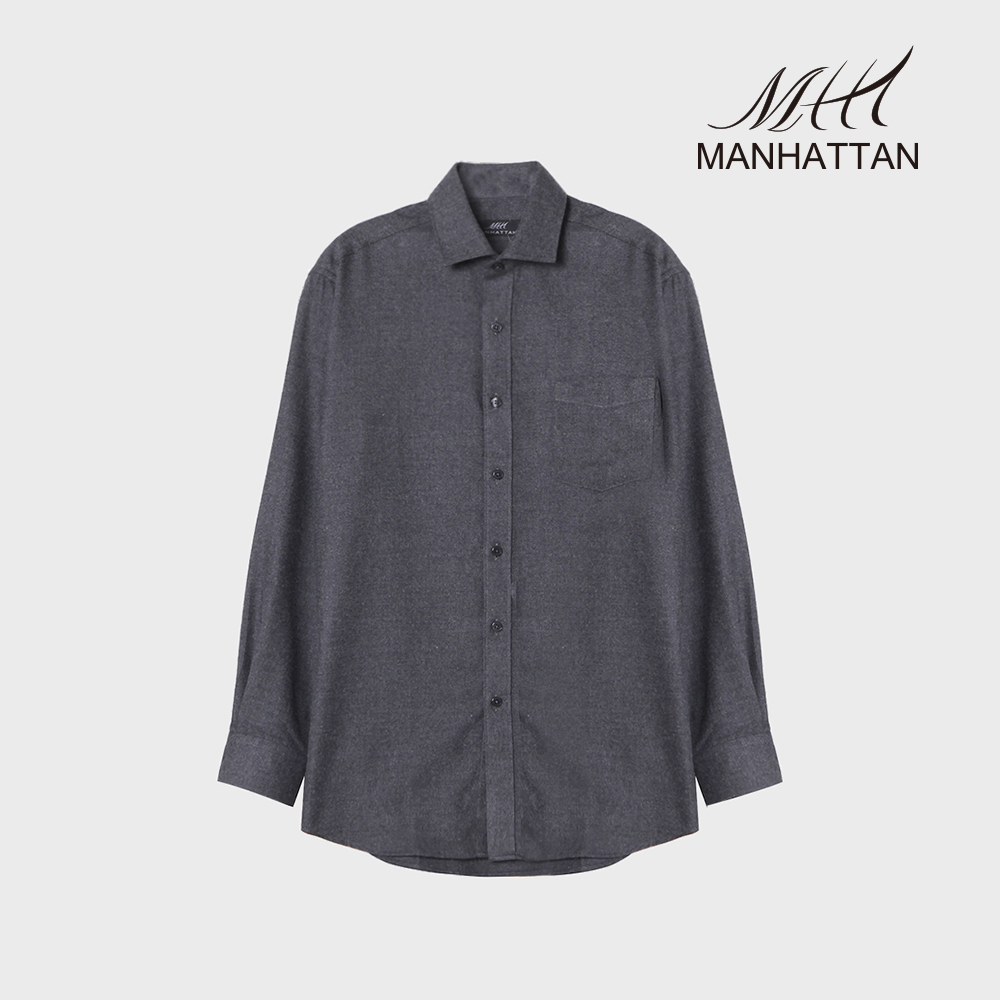 맨하탄 TR무지기모 캐주얼셔츠(그레이)