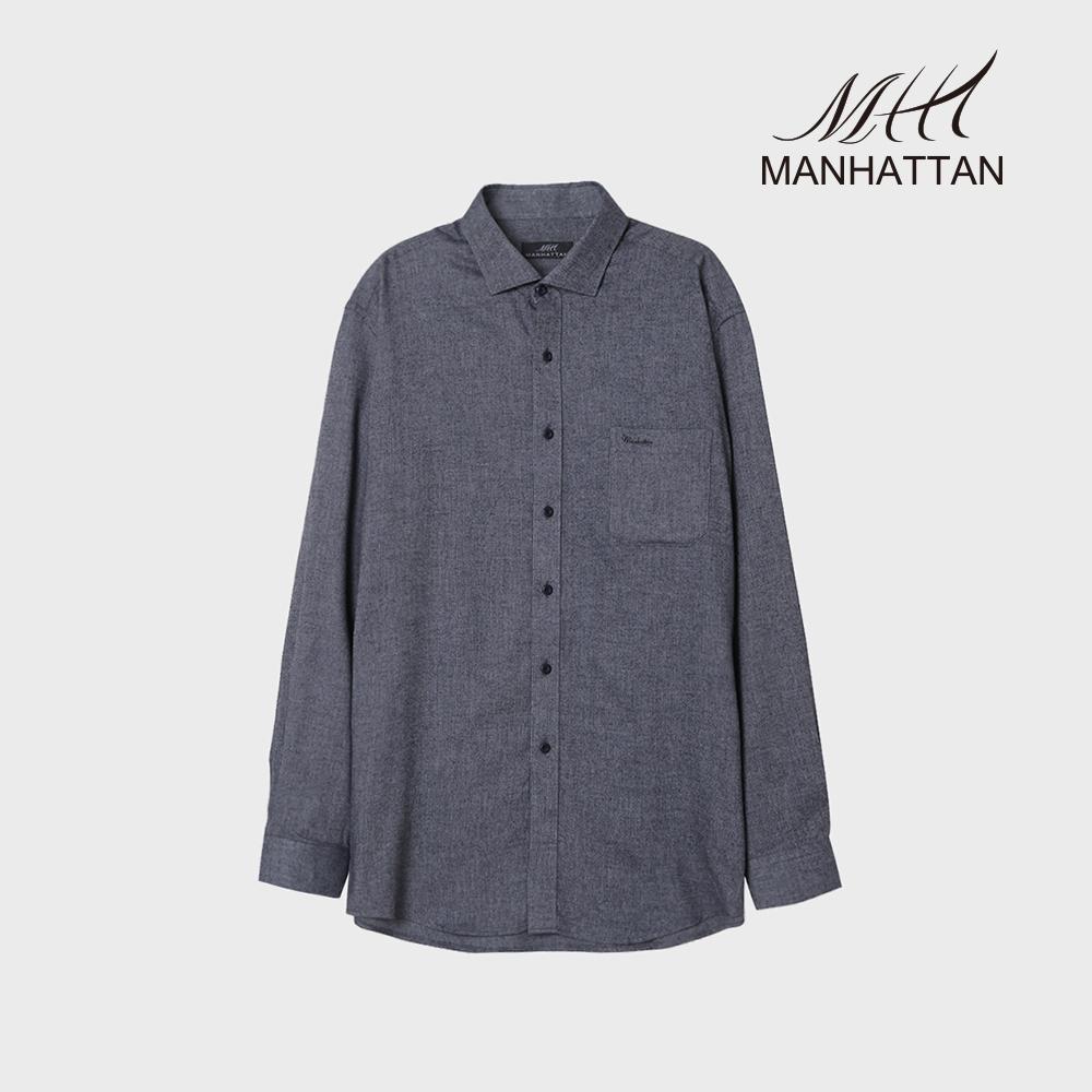 맨하탄 핀스트라이프 기모 캐주얼셔츠(네이비)