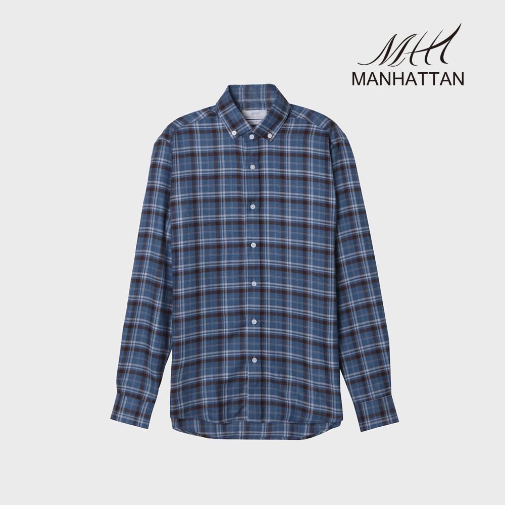 맨하탄 타탄체크 기모 슬림캐주얼셔츠(블루)