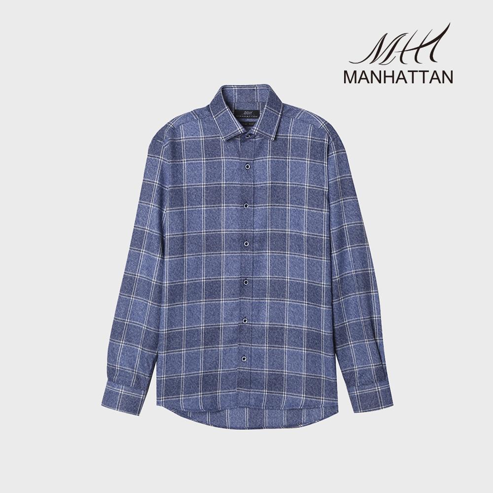 맨하탄 타탄체크 기모슬림캐주얼셔츠 (블루)