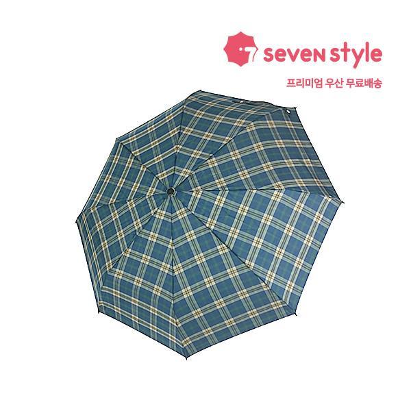 체크무늬 완전 3단자동우산